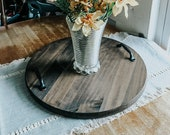 Round Serving Tray, Wood Serving Tray, Rustic Serving Tray, Gift Idea, Housewarming Gift, Coffee Table Tray
