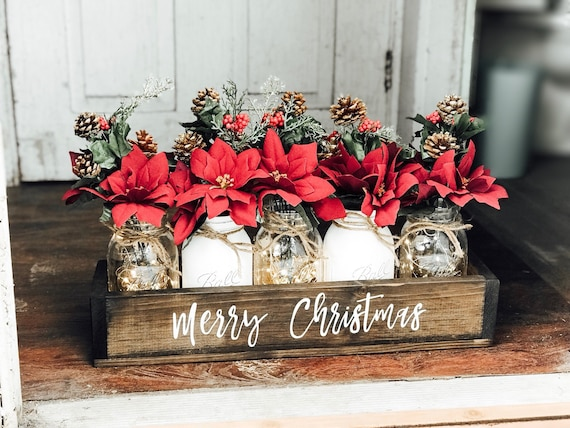 Clearance Christmas Decor.Christmas Clearance Christmas Mason Jar Christmas Centerpiece Mason Jar Christmas Christmas Table Decor Christmas Decor Holiday Decor