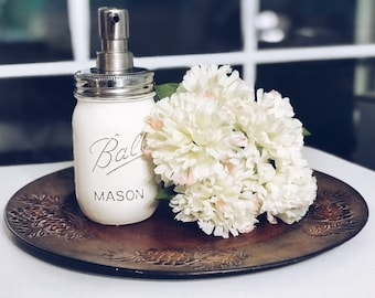 Mason Jar Soap Dispenser, Distressed Mason Jar, Mason Jar Decor, Chalk Paint Mason Jars, Mason Jar Kitchen Decor, Mason Jar Bathroom Decor