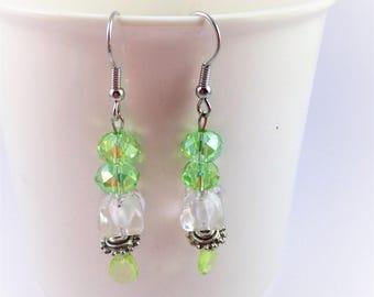 Shiny Green and White Dangle Earrings
