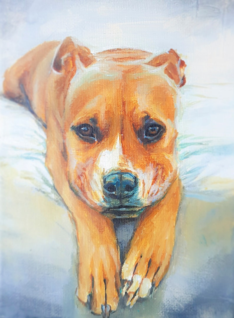 Hand Painted Acrylic Dog Pet Portrait Custom painting from photo