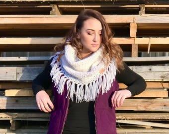 White Cowl with Fringes