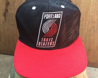 68fa3862f9b Rare Vintage Portland Trail Blazers NBA   Adidas Hat Cap Snapback