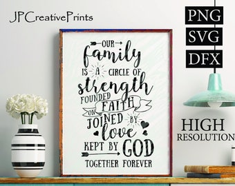 Our family is a circle of strength founded on faith joined by love kept by God together forever Printable Files, Quotes, Instant Download