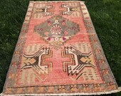 Oushak Rug Turkish Rug Small Rug Vintage Rug Pink and Gray Rug Door Mat Rug Bath Rug Decorative Rug 53 x 93cm, 1.9 x 3.1 ft