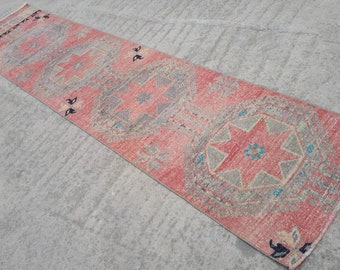 Oushak Runner Rug 2.8x11.6 ft Handmade Turkish Runner Rug Decorative Vintage Hallway Rug Pastel Colours Corridor Rug