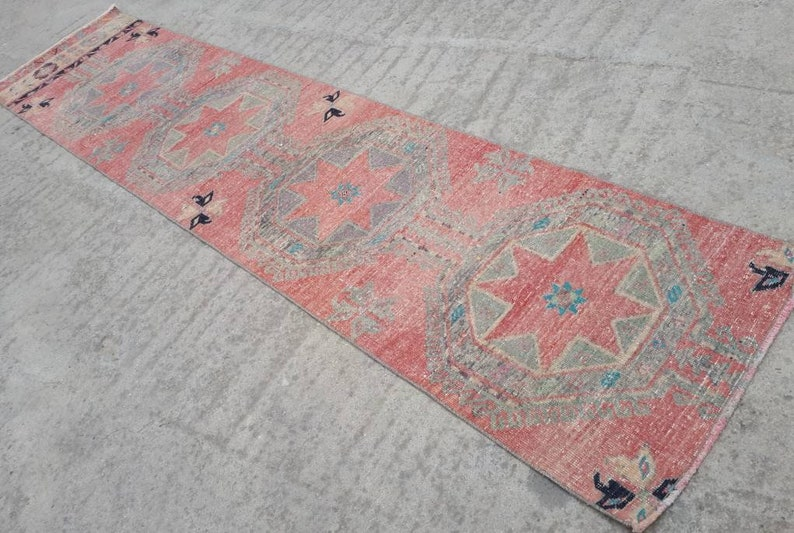 Oushak Runner Rug 2.8x11.6 ft Handmade Turkish Runner Rug image 0