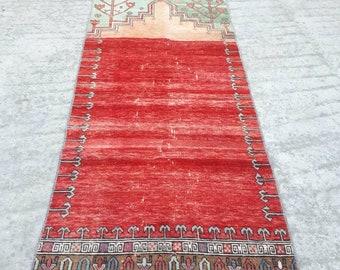 Oushak Runner Rug 2.9x10 ft Handmade Turkish Runner Rug Decorative Vintage Hallway Rug Pastel Colours Corridor Rug