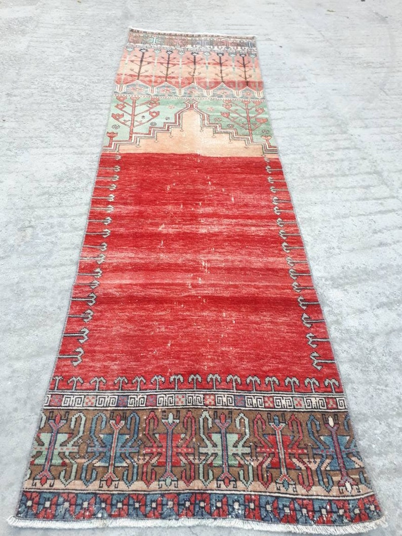 Oushak Runner Rug 2.9x10 ft Handmade Turkish Runner Rug image 1