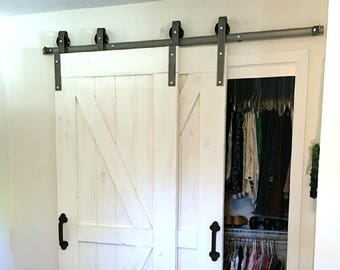 Single Track Bypass© Sliding Barn Door Hardware Kit   Barn Door Bypass Kit    Raw Steel Or Black Hardware   Made In USA