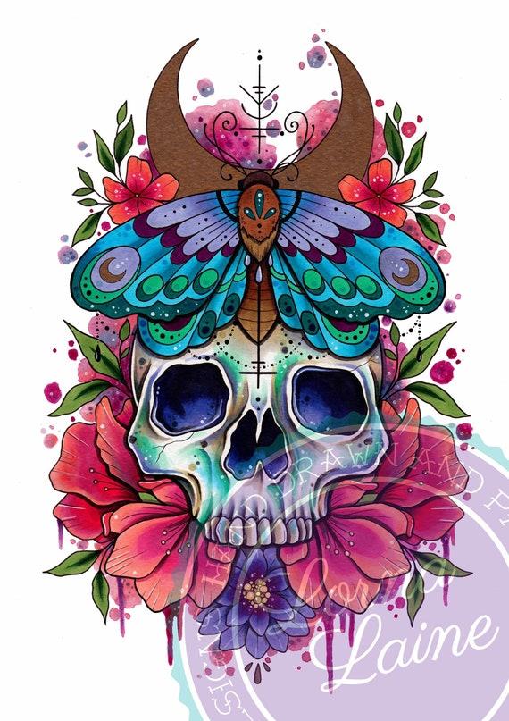 Canvas Art Picture Print Decorative Skull Gothic Rock Tattoo Illustration