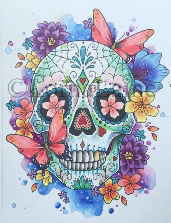 Zucker Schadel Druck Tattoo Design Tag Der Toten Kunst Etsy
