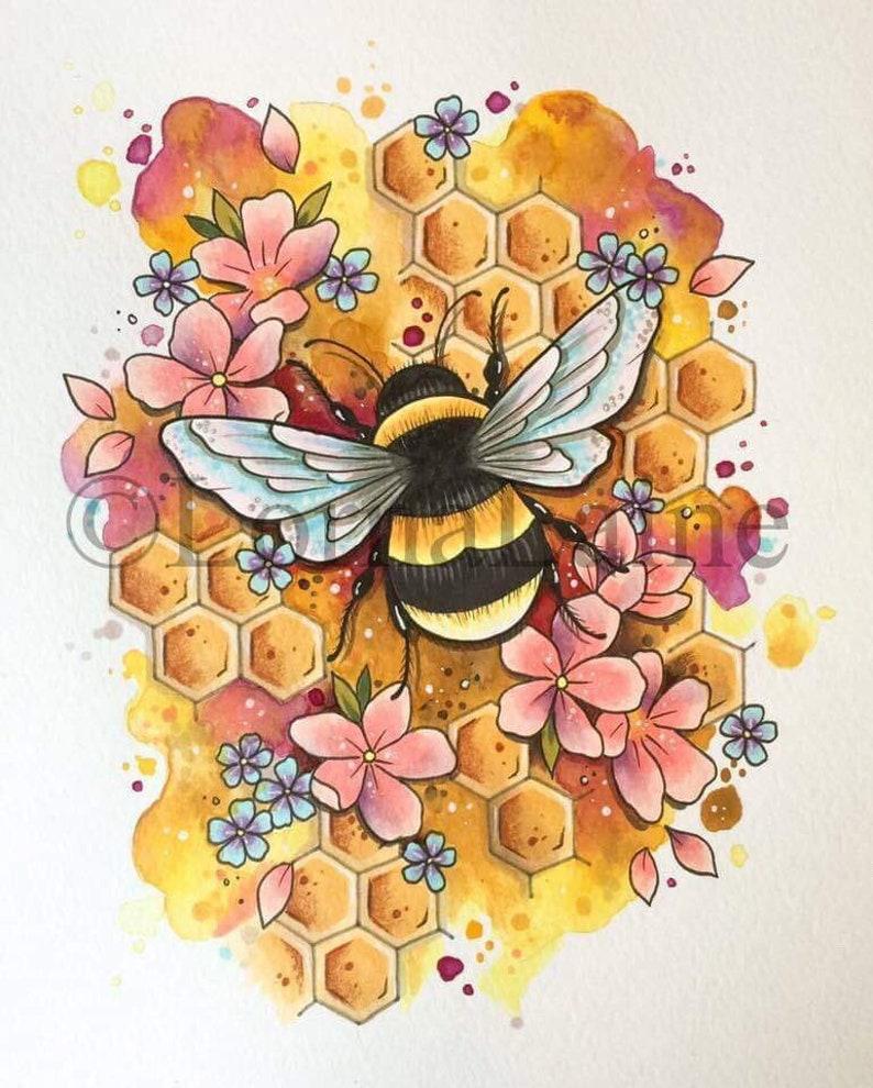 f838382431649 Bumble bee tattoo print tattoo design bee art print | Etsy