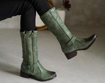 Women Plus size Tall boots women 2020 autumn and winter new comfortable thick heel side zipper retro short boots women
