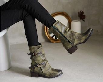 Women Plus size boots women 2020 autumn and winter new comfortable thick heel side zipper retro short boots women