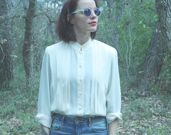 Shirt blouse Vintage 90s off-white flowing pleated Pierbe made in France T.44