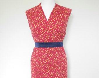 1fa35be493c Robe sans manche vintage 80s 1980 90s 1990 coton cache coeur fleurs liberty  38 bordeaux rouge