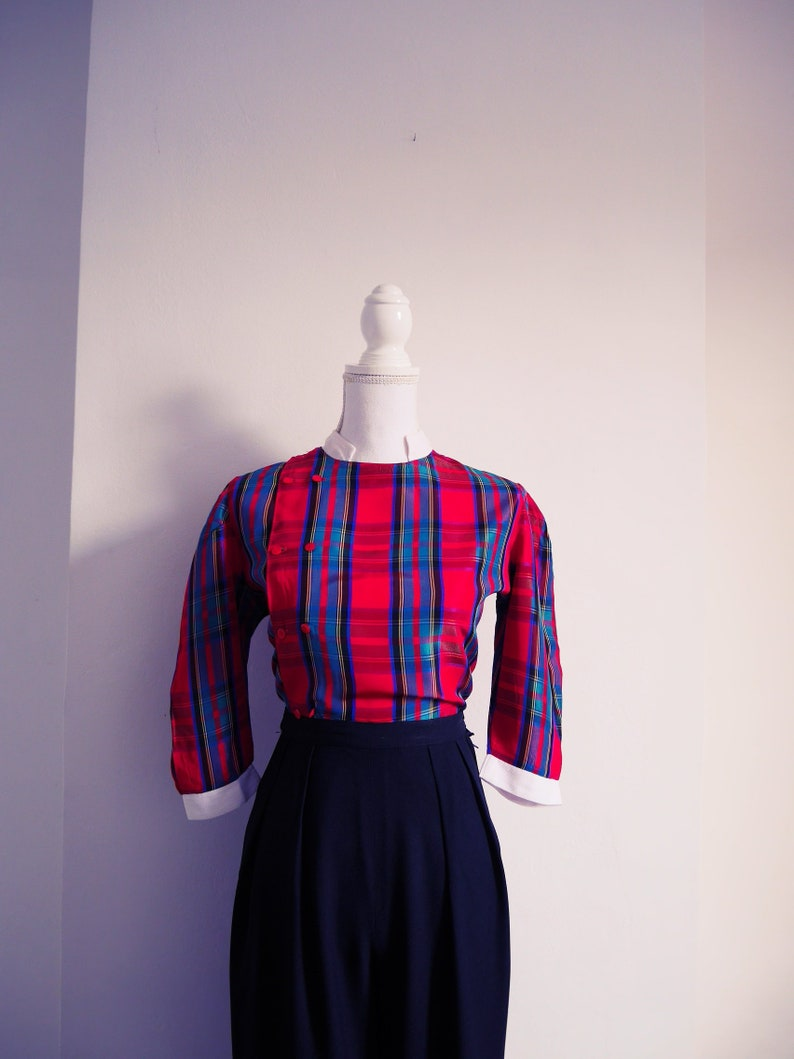 Crop shirt top blouse Vintage 70 of 80/'s Plaid hand stitched Scottish stand-up Mandarin collar
