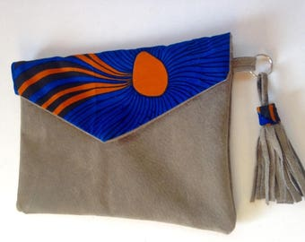 Split leather and Wax handmade pouch