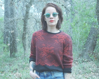 Vintage 90 s black flowers and Red pullover Large