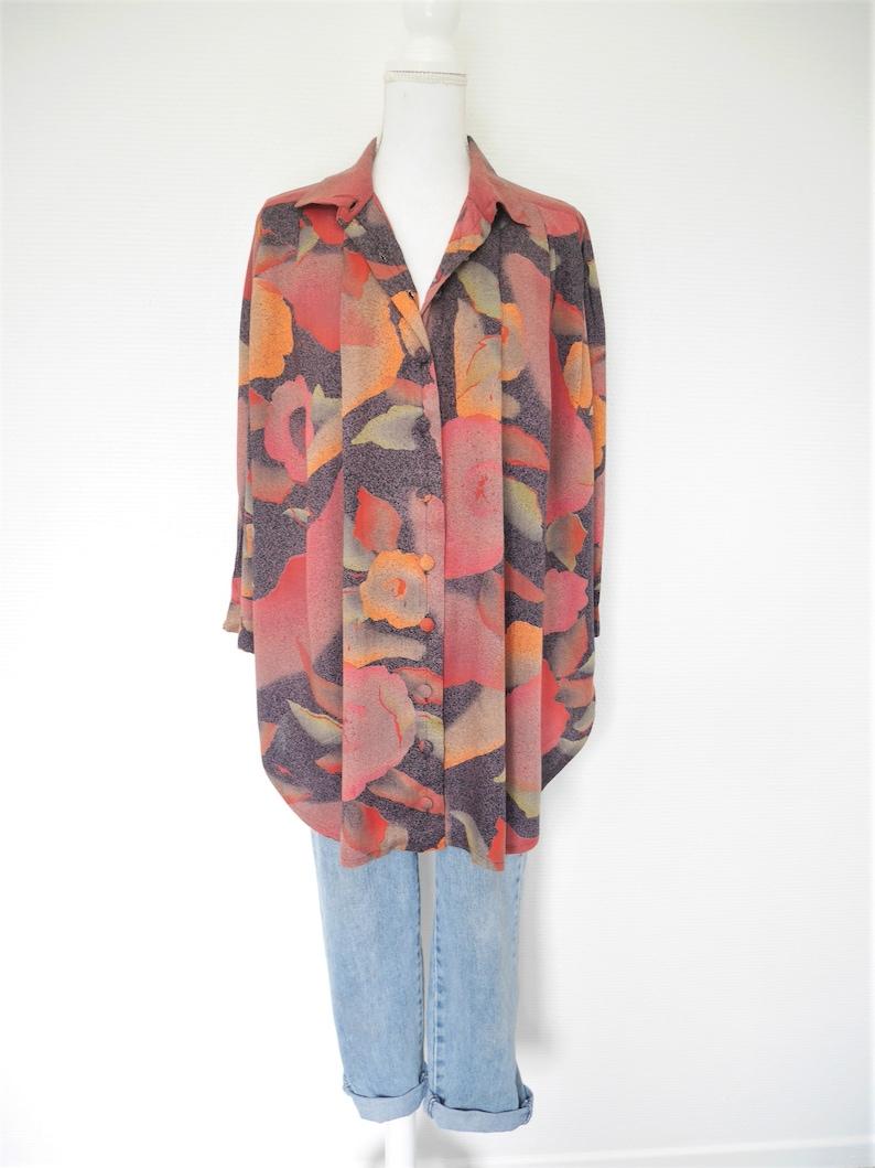 Vintage 80s 1980 1990 90s oversized long fluid pattern multicolor summer shirt