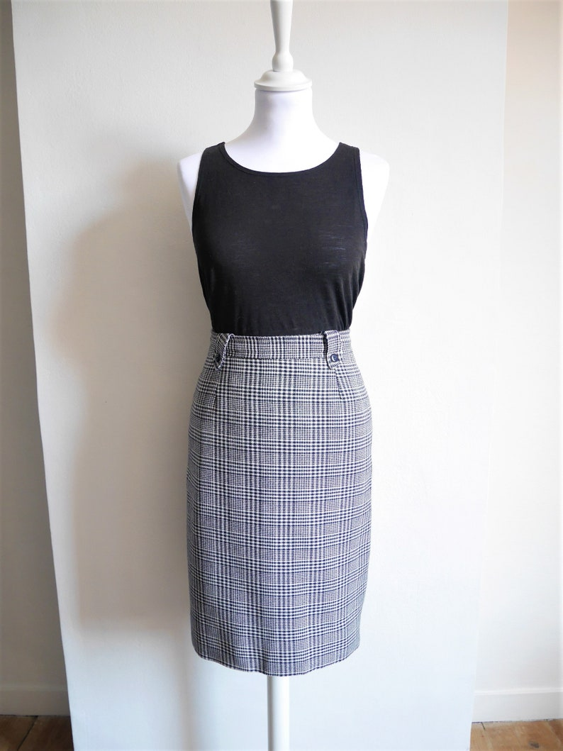 Vintage retro Pin Up chicken foot high waist skirt made in France 42 pencil Secretary 80/'s 1980 70 s 1970