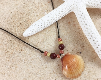 Hemp Necklace, Beaded Necklace, Shell Necklace, Scallop Shell, Red, Orange, Yellow, Handmade, Hemp Jewelry, Beaded Jewelry, Shell Jewelry