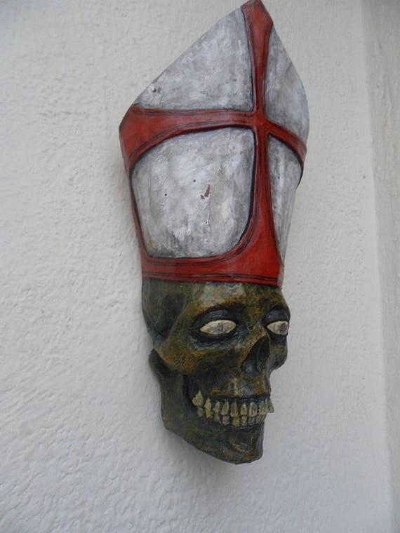 Cardinal Zombie Handmade Paper Mache Mask Skull Mask Etsy Custom Paper Mache Masks To Decorate