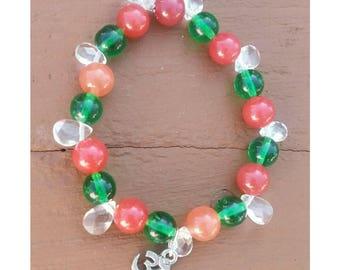 Emerald and rhodochrosite healing bracelet