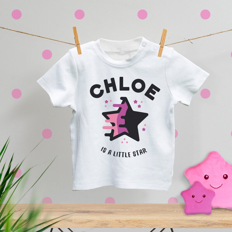 best gift for baby girl Personalised Baby T-Shirt cool baby clothes 100/% ethically produced cotton is a little star fun baby t-shirt