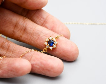 Sapphire Necklace For Women Gold/Silver,Sapphire Pendants,Blue,September Birthday Gifts,Mother's Day Jewelry for Grandma,Gifts for Mom