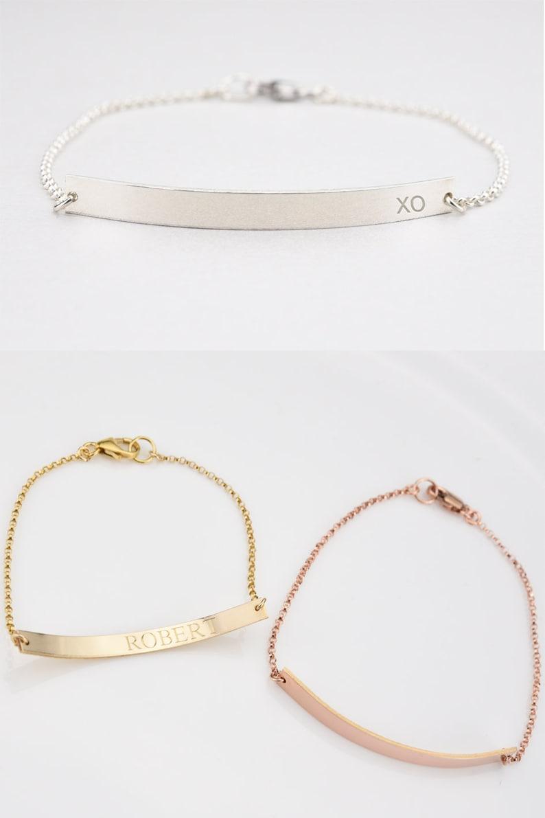 Custom Bar Bracelet,Rose Gold Engraved Bracelet,Gold Skinny Initial Bracelet,Name Bracelet,Coordinates Bracelet,Roman Numeral Bracelet