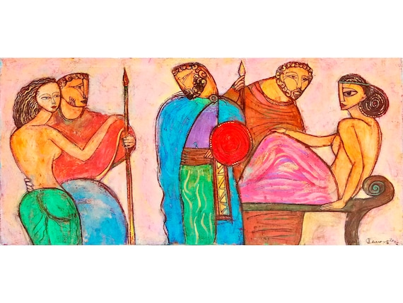 Ancient Greek Mythology Art Large Oil Painting Canvas Greek Style Original Artwork Large Wall Art Bright Wall Decor Art For Living Room