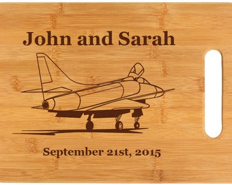 Personalized Bamboo Cutting Board - Military Aircraft Designs