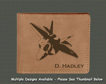 Engraved Leatherette Wallet - Military Aircraft