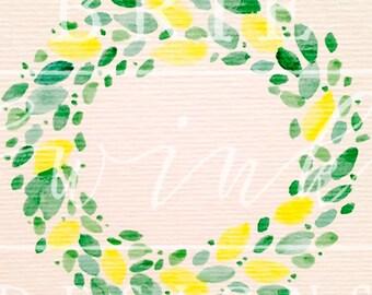 LEMON WREATH Watercolor Clipart