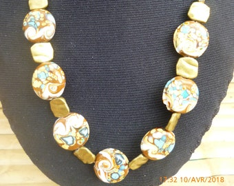 Brown/Blue Bead Necklace
