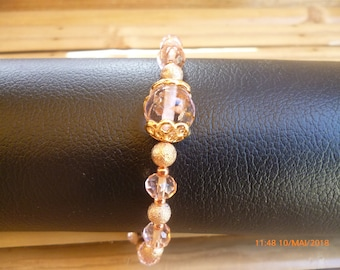 Rose gold rose charm and beads