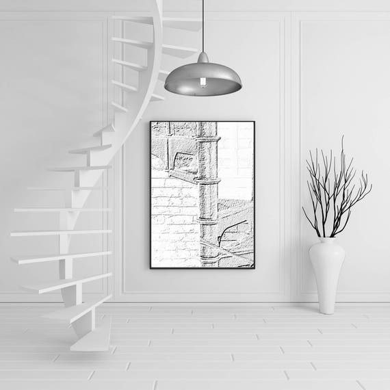 escalier dor en noir et blanc etsy. Black Bedroom Furniture Sets. Home Design Ideas