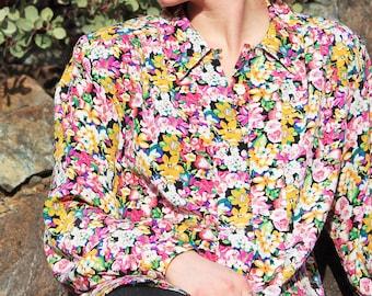 1980's Impressions Silky Flower Power Dress Shirt