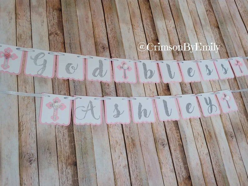 Personalized Baptism Party flower decor God Bless Baptism Banner Confirmation First Communion Floral Cross Banner