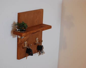 Handcrafted Real Wood Key Holder Shelf - With Plant Pot