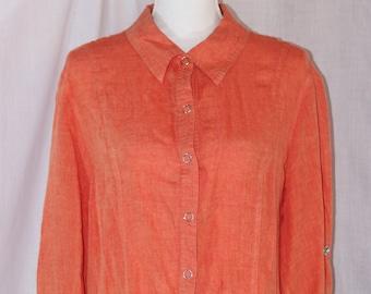 9597933e4d Vintage COMPANY Ellen Tracy Orange Linen Button Down Long Sleeve Blouse Size  XL