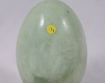 Green Nephrite Jade 81x53mm Crystal Sphere Egg 329g with Display Stand