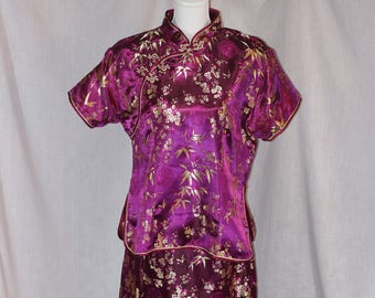 Vintage LP Purple Chinese Cheongsam Qipao Floral Embroidered Short Sleeve Dress Size XL Silk Blend