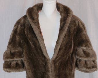 Vintage Light Brown Faux Fur Lined Shrug Wrap Bolero