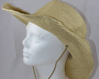 70df6a4606f Vintage Beige Brown Gold Bling Straw Western Cowgirl Hat with Stampede  String Size Medium 22 inches circumference