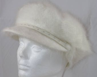 Vintage SOMETHING SPECIAL White Angora Blend Bling Gatsby Newsboy Cap Hat Size Small