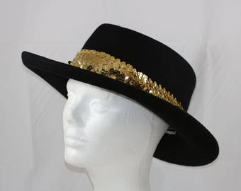 Vintage Street Smart by Betmar Black Wool Felt with Gold Color Sequins Western  Cowgirl Hat Size Small Medium 21.5 inches circumference d85b18459af