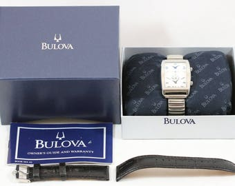 Vintage BULOVA Silver Tone Stainless Steel Dual Time Zone Watch with Speidel Stretch Band C875447